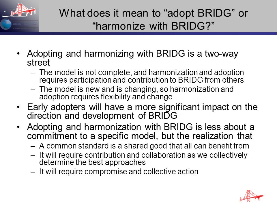 What does it mean to adopt BRIDG or harmonize with BRIDG