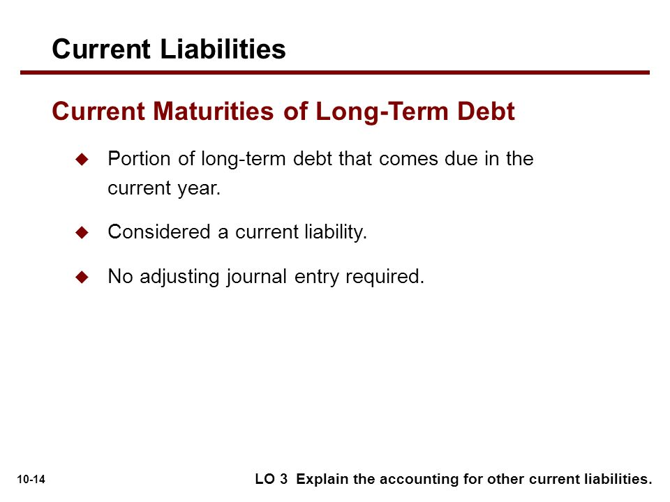 Current maturities of long term debt