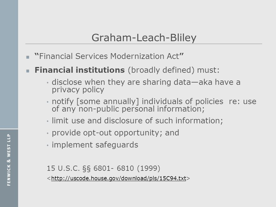 Graham-Leach-Bliley Financial Services Modernization Act