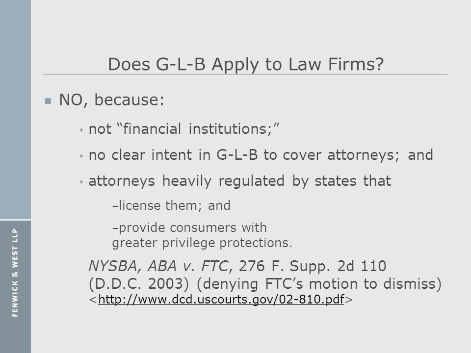 Does G-L-B Apply to Law Firms