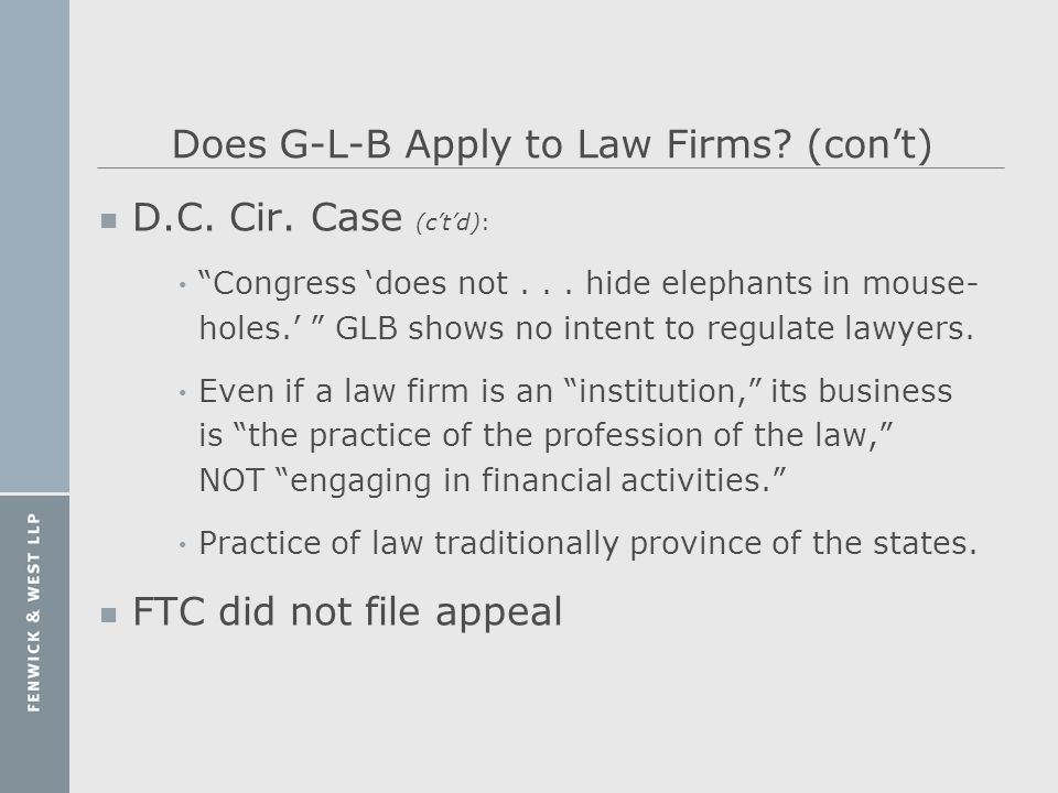 Does G-L-B Apply to Law Firms (con't)