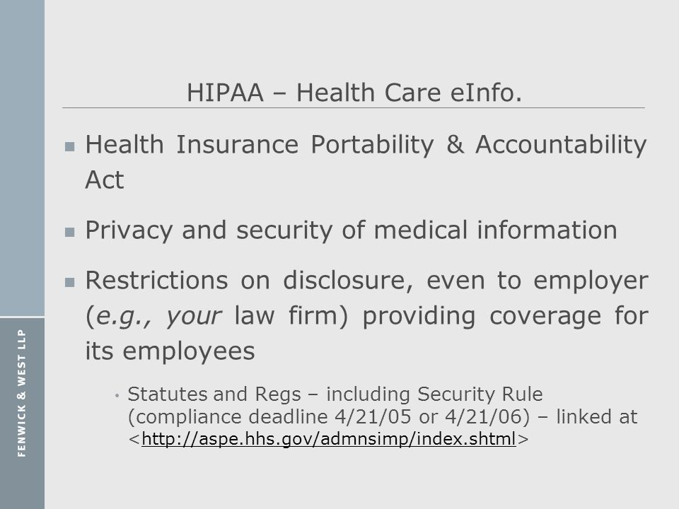 HIPAA – Health Care eInfo.