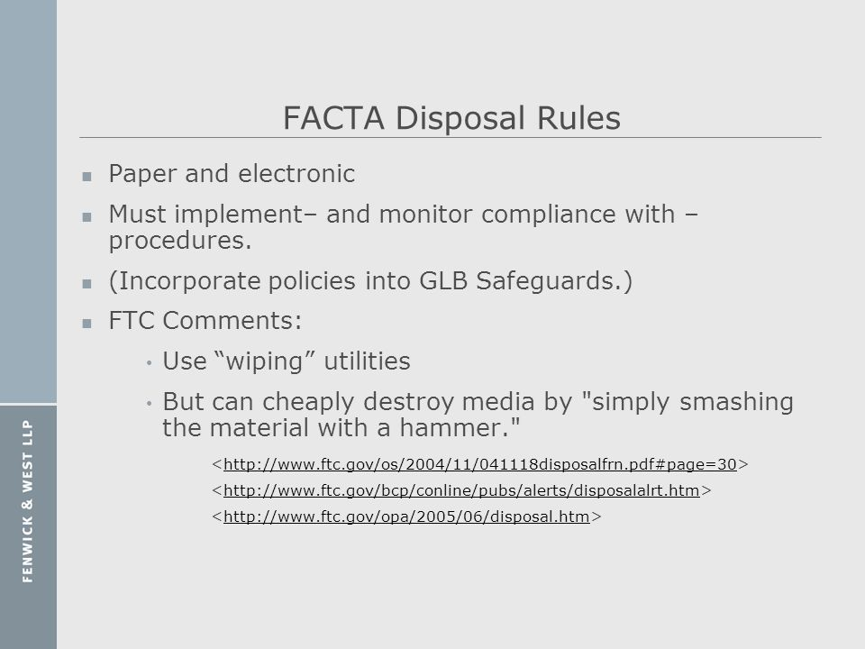 FACTA Disposal Rules Paper and electronic