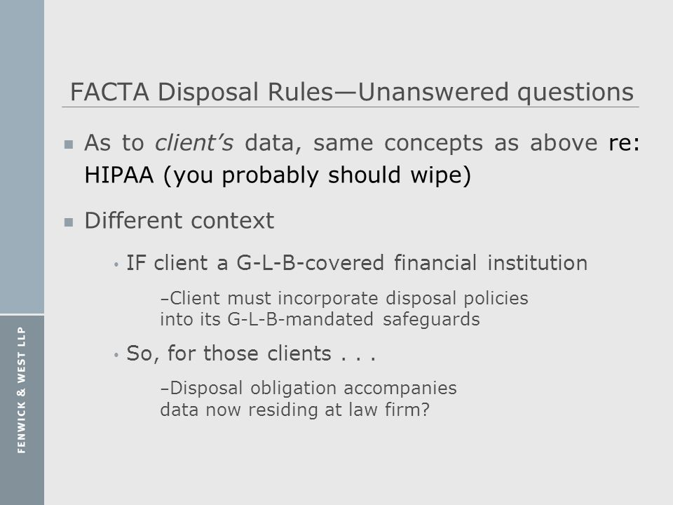 FACTA Disposal Rules—Unanswered questions