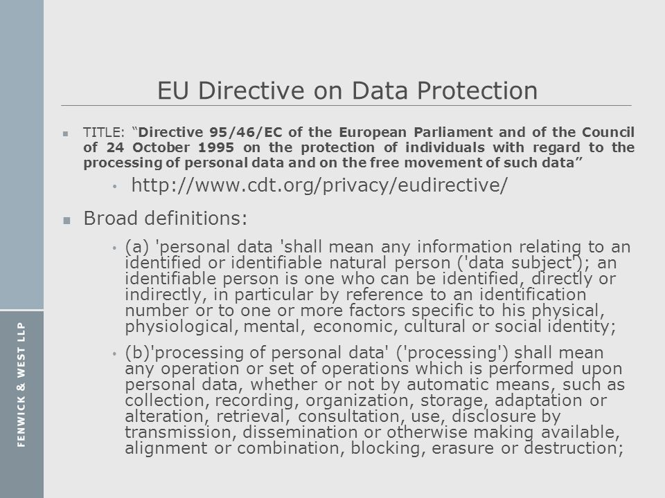 EU Directive on Data Protection