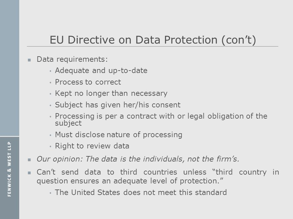 EU Directive on Data Protection (con't)