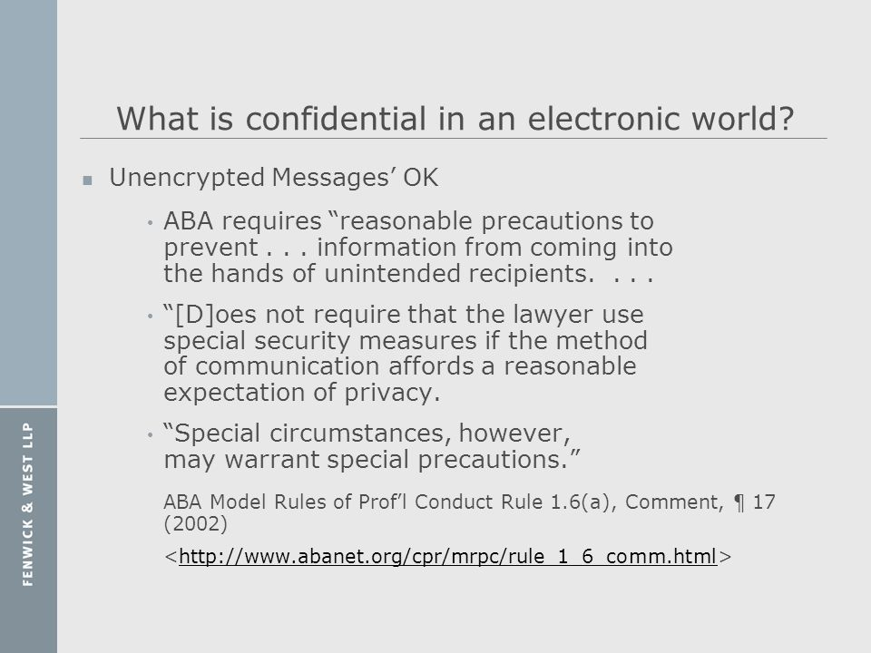 What is confidential in an electronic world