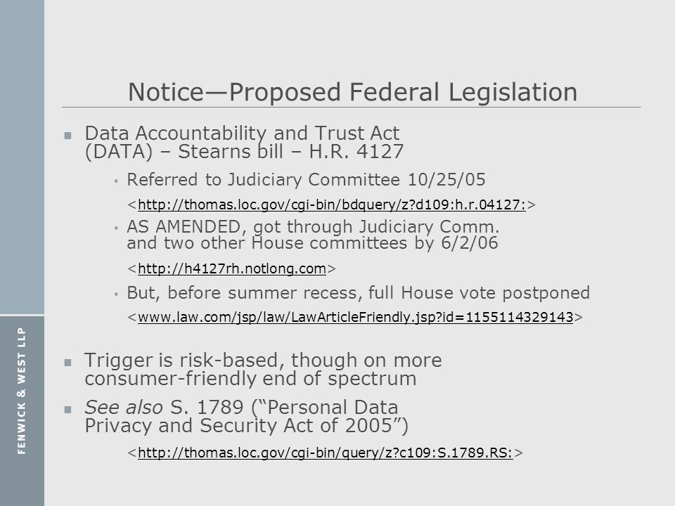 Notice—Proposed Federal Legislation