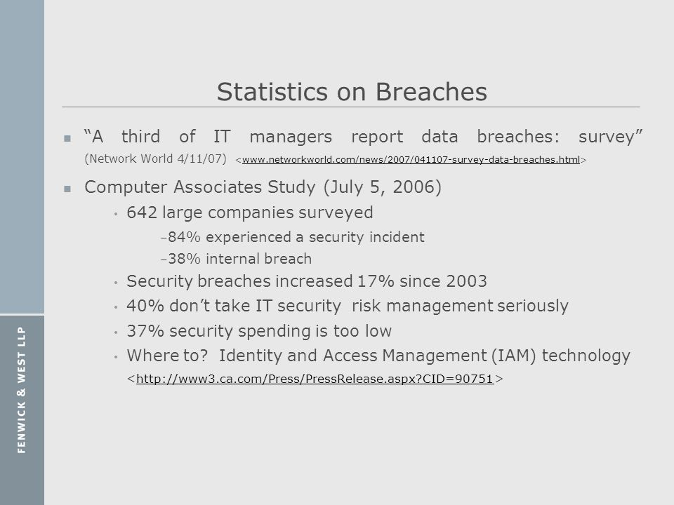 Statistics on Breaches