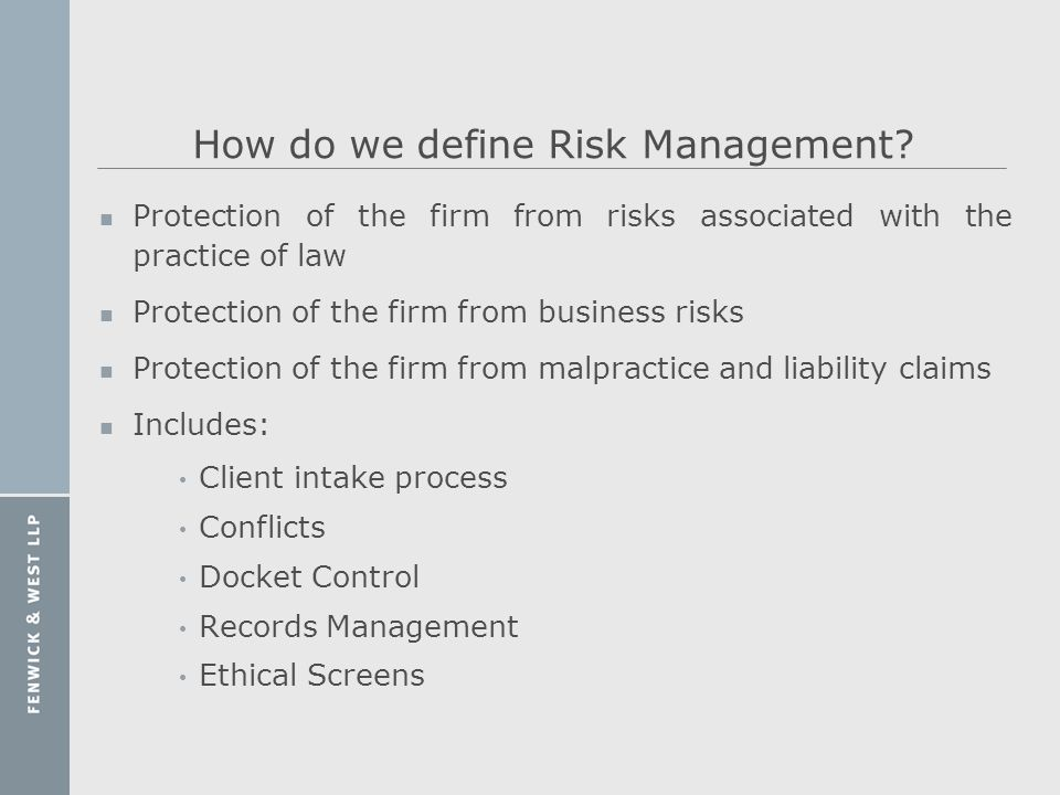 How do we define Risk Management
