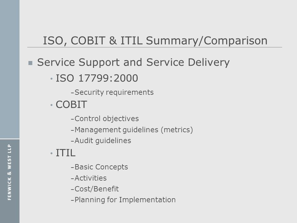 ISO, COBIT & ITIL Summary/Comparison