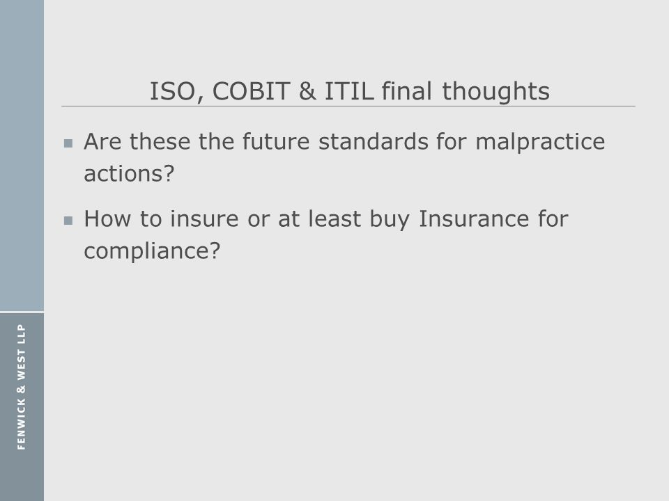ISO, COBIT & ITIL final thoughts