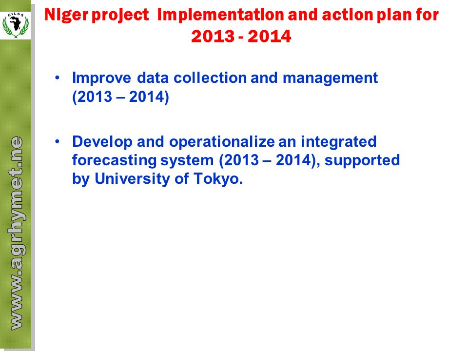 Niger project implementation and action plan for 2013 - 2014