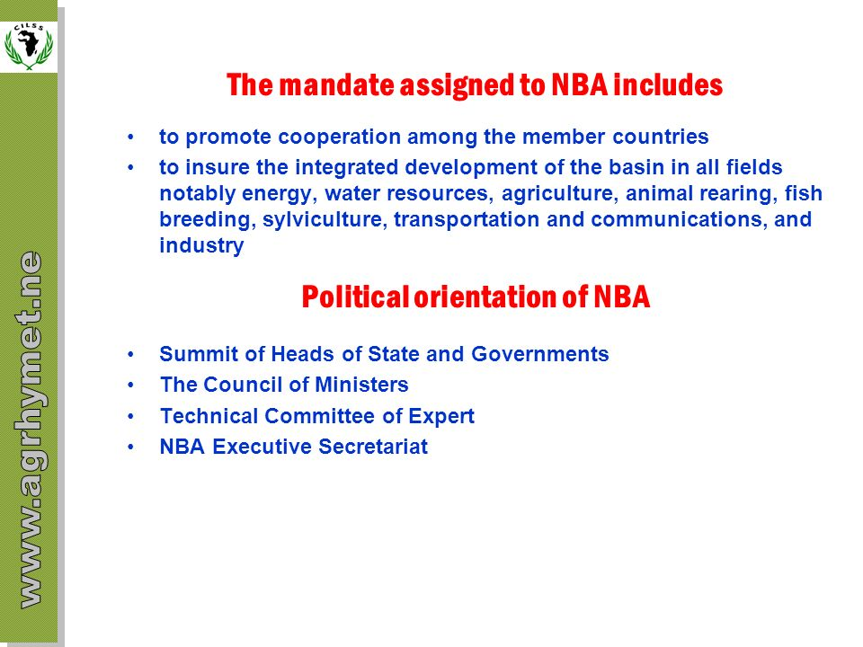 The mandate assigned to NBA includes Political orientation of NBA