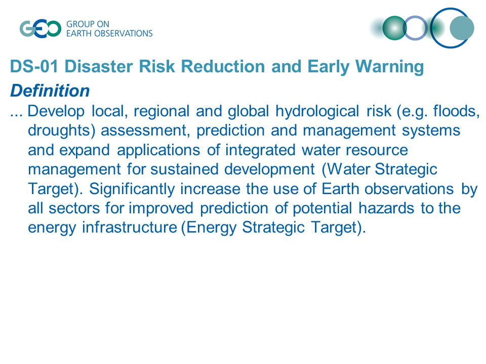 DS-01 Disaster Risk Reduction and Early Warning Definition