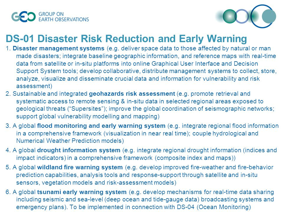 DS-01 Disaster Risk Reduction and Early Warning