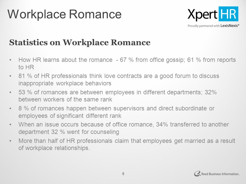 What percentage of workplace dating relationships result in marriage talk about