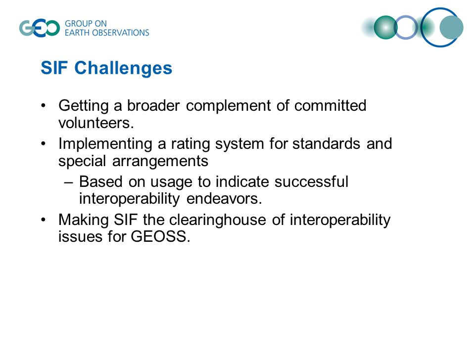 SIF Challenges Getting a broader complement of committed volunteers.