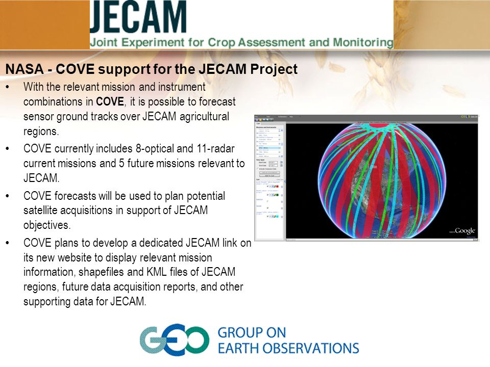 NASA - COVE support for the JECAM Project