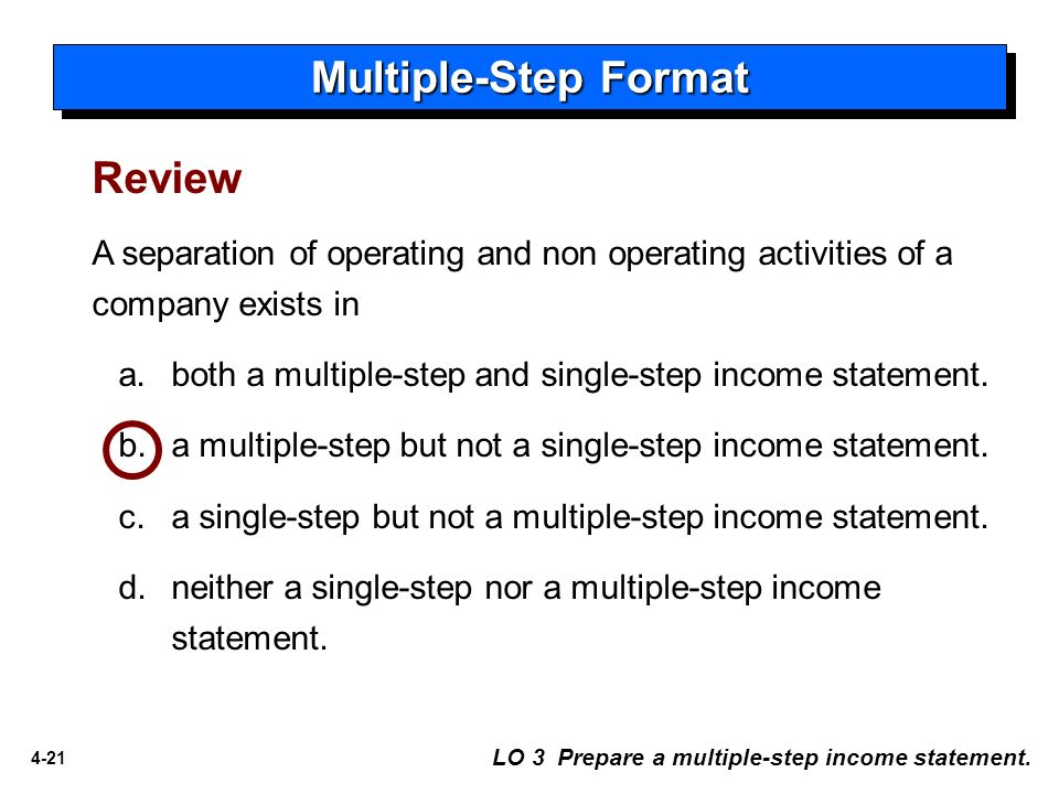 multi step income statement format