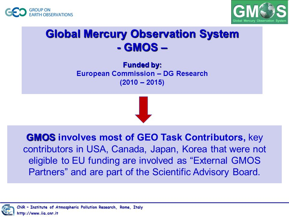Global Mercury Observation System - GMOS – Funded by: European Commission – DG Research (2010 – 2015)