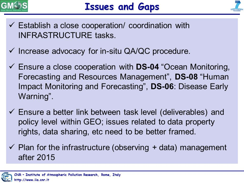 Issues and Gaps Establish a close cooperation/ coordination with INFRASTRUCTURE tasks. Increase advocacy for in-situ QA/QC procedure.