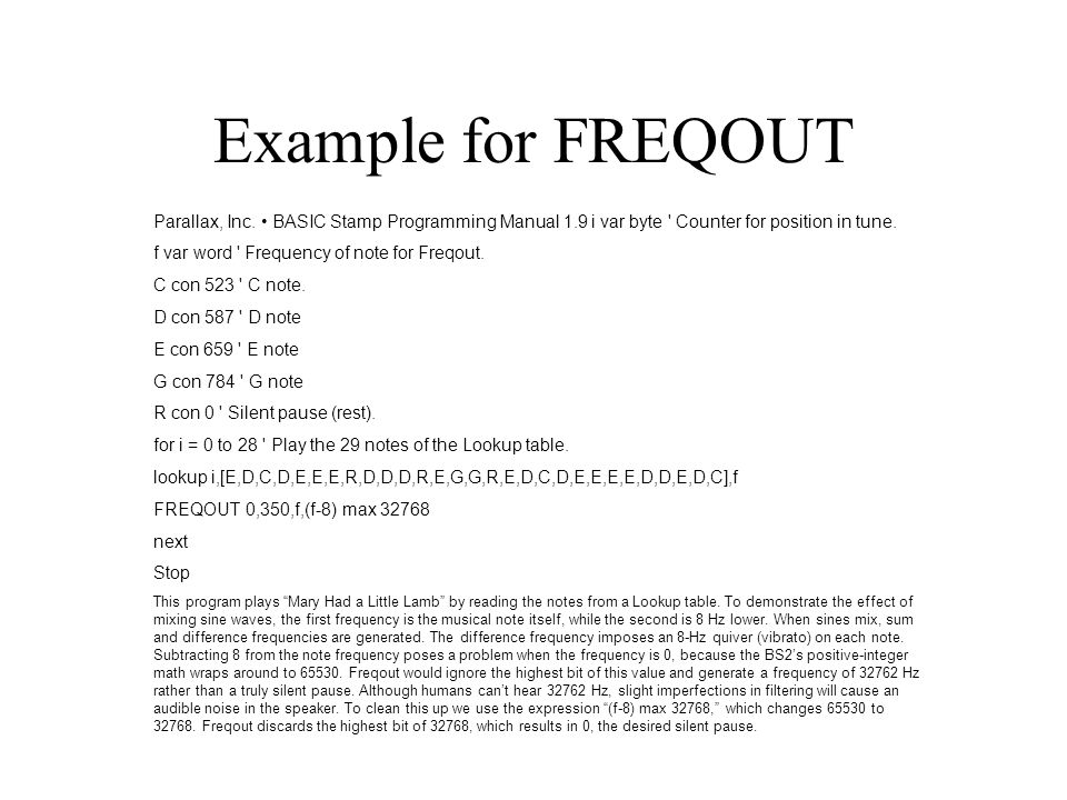Example For FREQOUT Parallax Inc O BASIC Stamp Programming Manual 19 I Var Byte