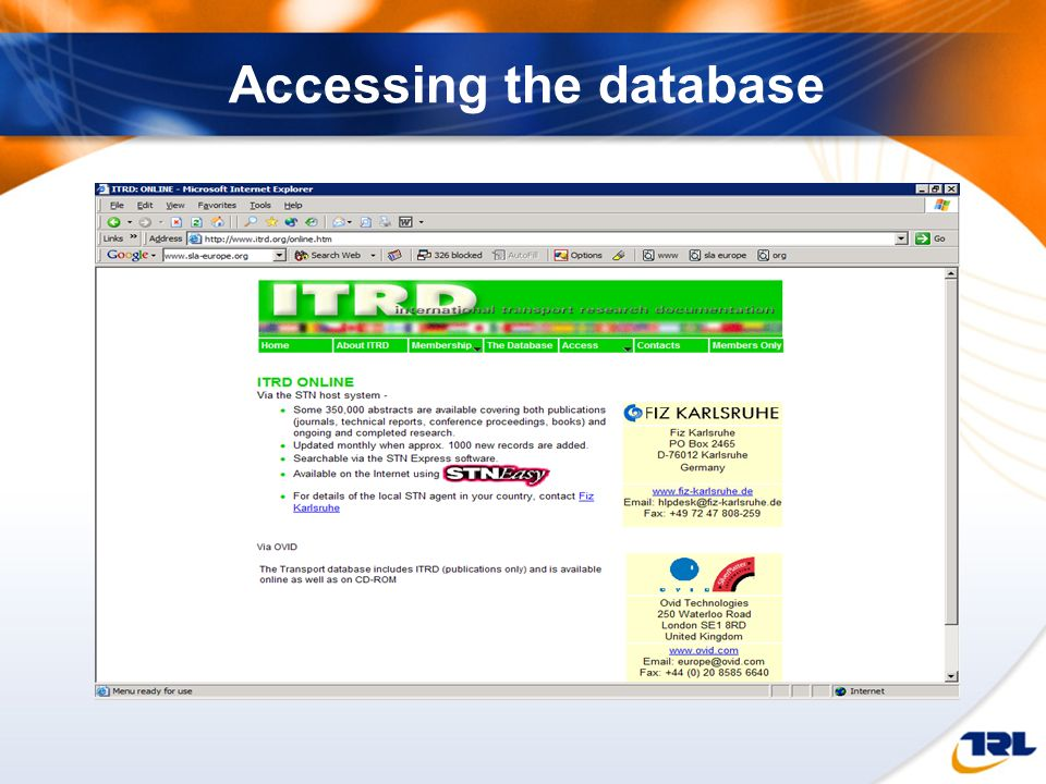 Accessing the database