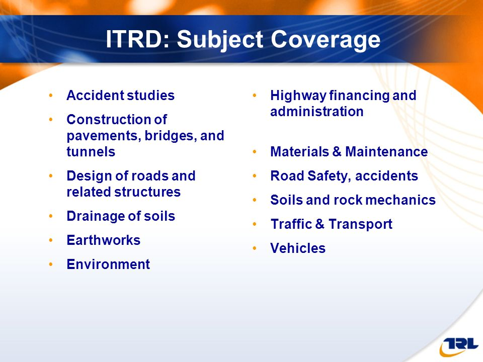 ITRD: Subject Coverage