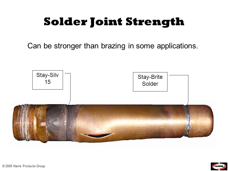 Solder Joint Strength Can be stronger than brazing in some applications. Stay-Silv 15. Stay-Brite Solder.