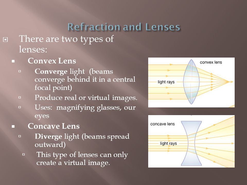 Refraction and Lenses There are two types of lenses: Convex Lens