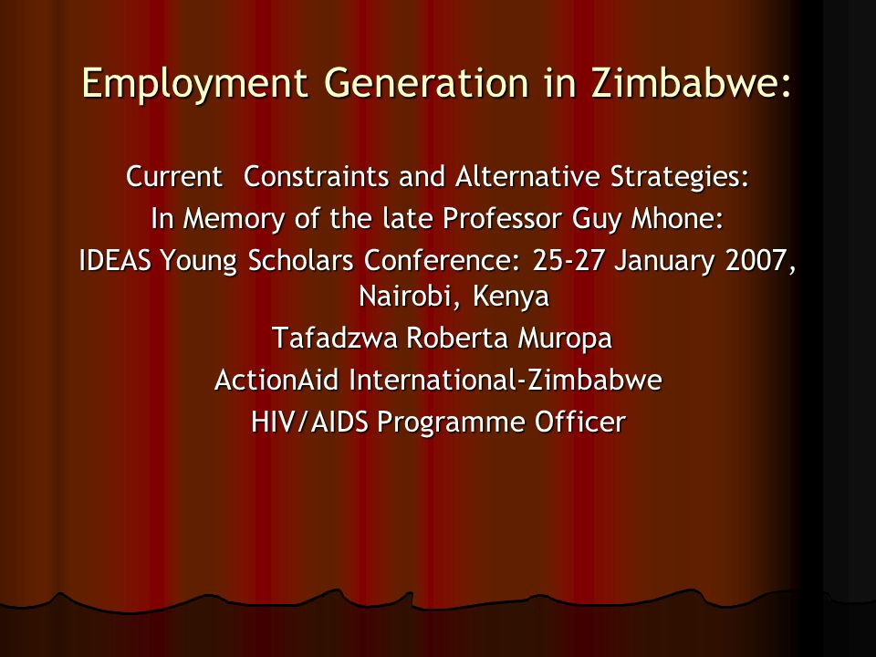 Employment Generation in Zimbabwe: