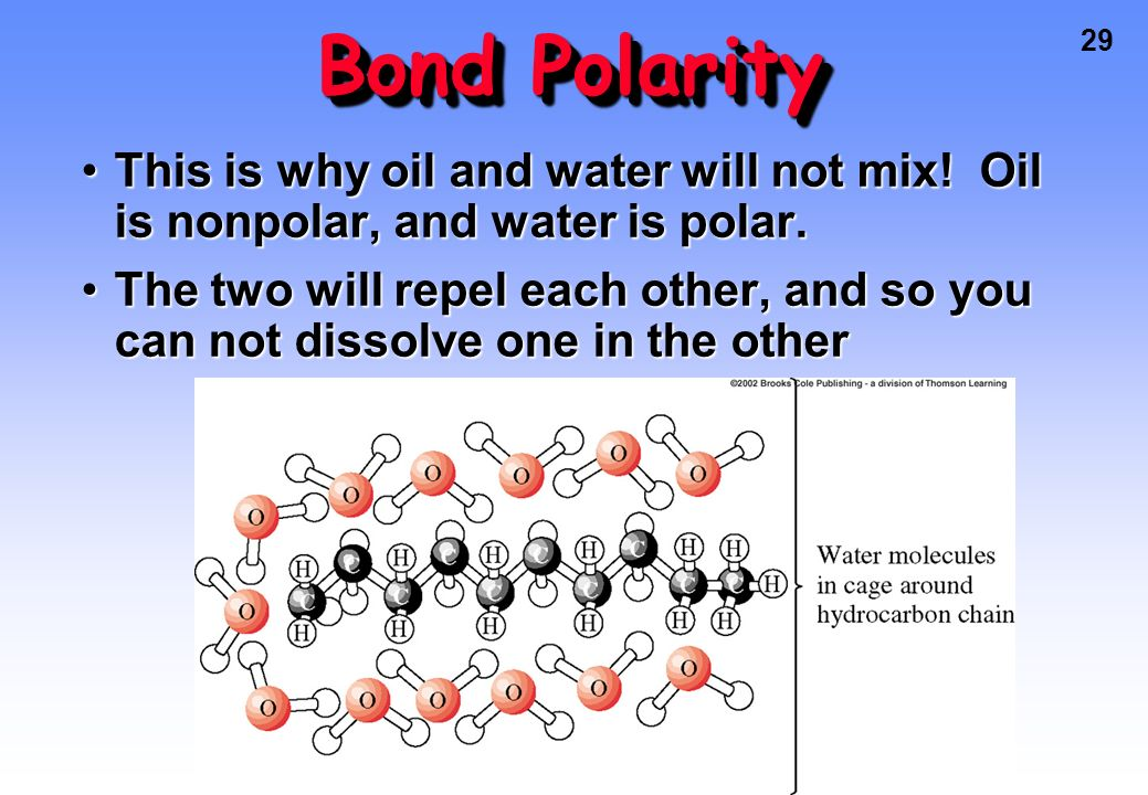 Bond Polarity This is why oil and water will not mix! Oil is nonpolar, and water is polar.