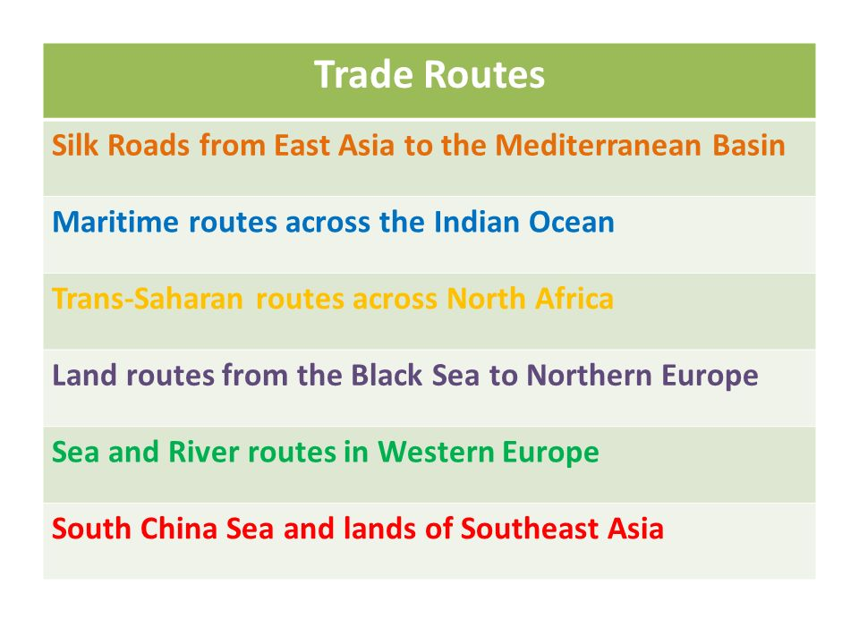 Trade Routes Silk Roads from East Asia to the Mediterranean Basin