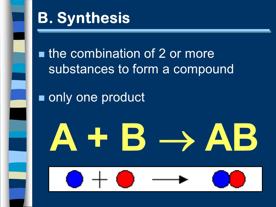 B. Synthesis the combination of 2 or more substances to form a compound.
