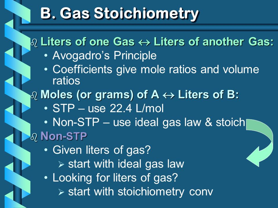 B. Gas Stoichiometry Liters of one Gas  Liters of another Gas: