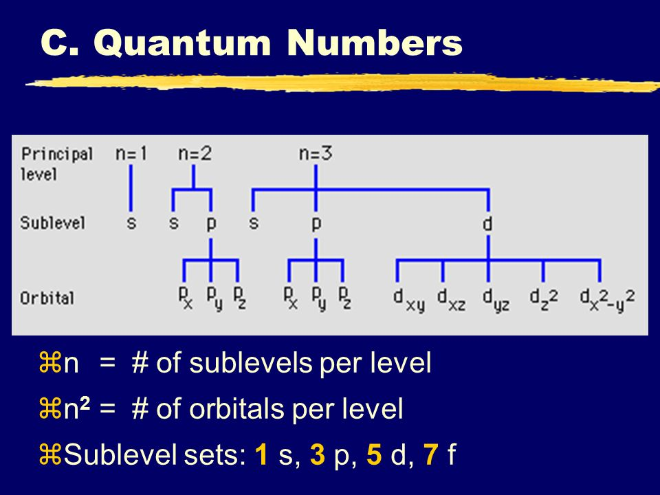 C. Quantum Numbers n = # of sublevels per level