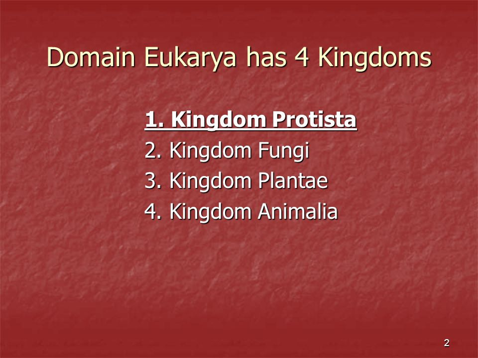 Domain Eukarya has 4 Kingdoms