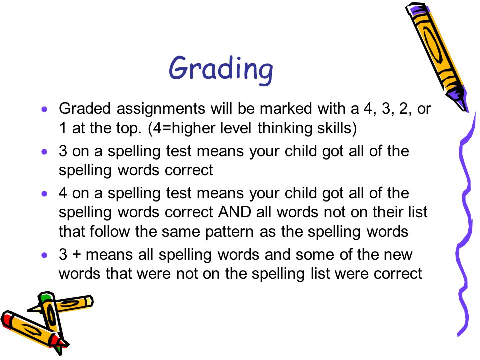 Grading Graded assignments will be marked with a 4, 3, 2, or 1 at the top. (4=higher level thinking skills)
