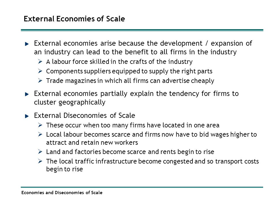 examples of external diseconomies of scale