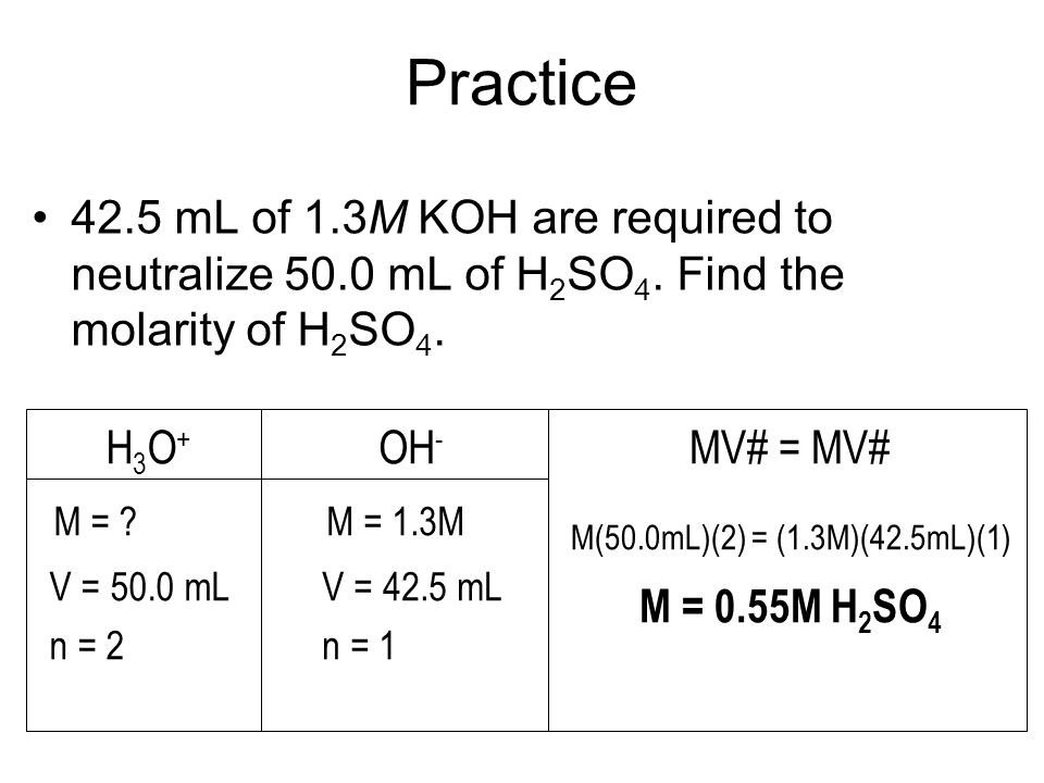 Practice 42.5 mL of 1.3M KOH are required to neutralize 50.0 mL of H2SO4. Find the molarity of H2SO4.