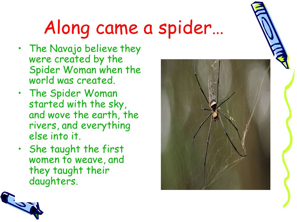 Along came a spider… The Navajo believe they were created by the Spider Woman when the world was created.