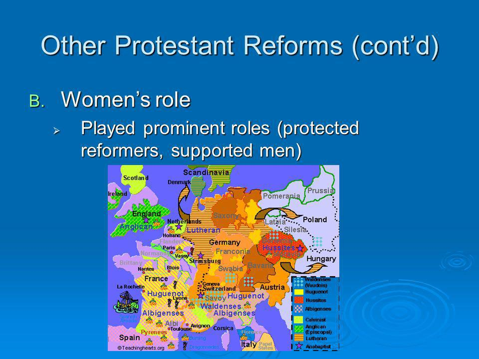 Other Protestant Reforms (cont'd)
