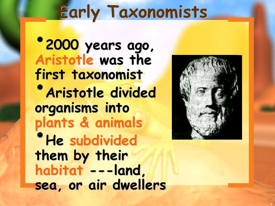 Early Taxonomists 2000 years ago, Aristotle was the first taxonomist