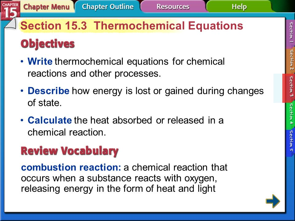 Section 15.3 Thermochemical Equations