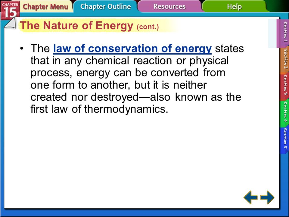 The Nature of Energy (cont.)