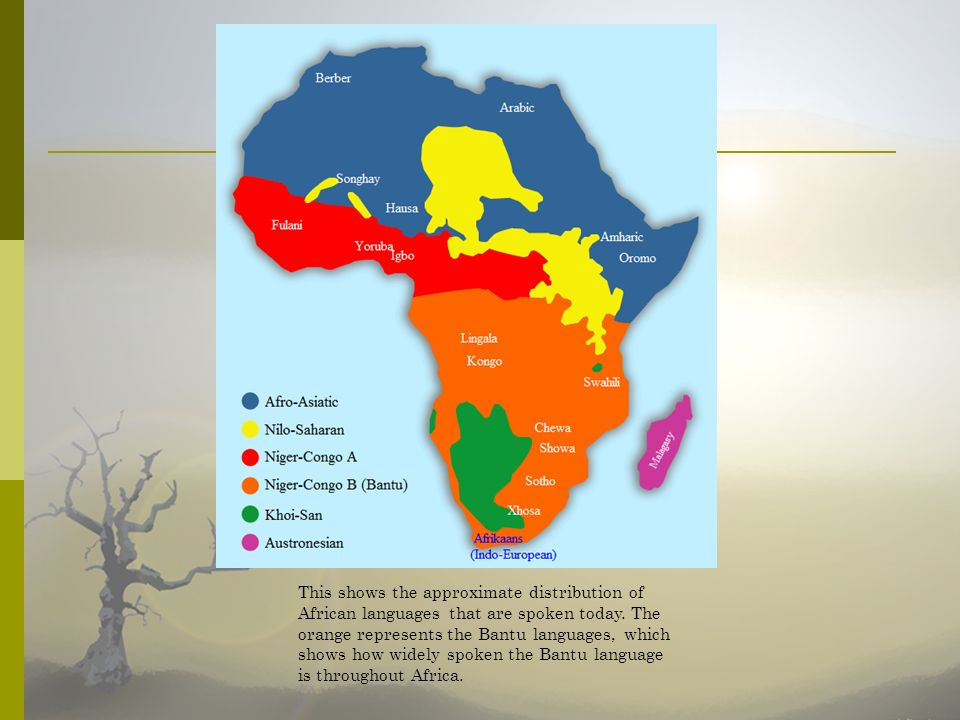 This shows the approximate distribution of African languages that are spoken today.