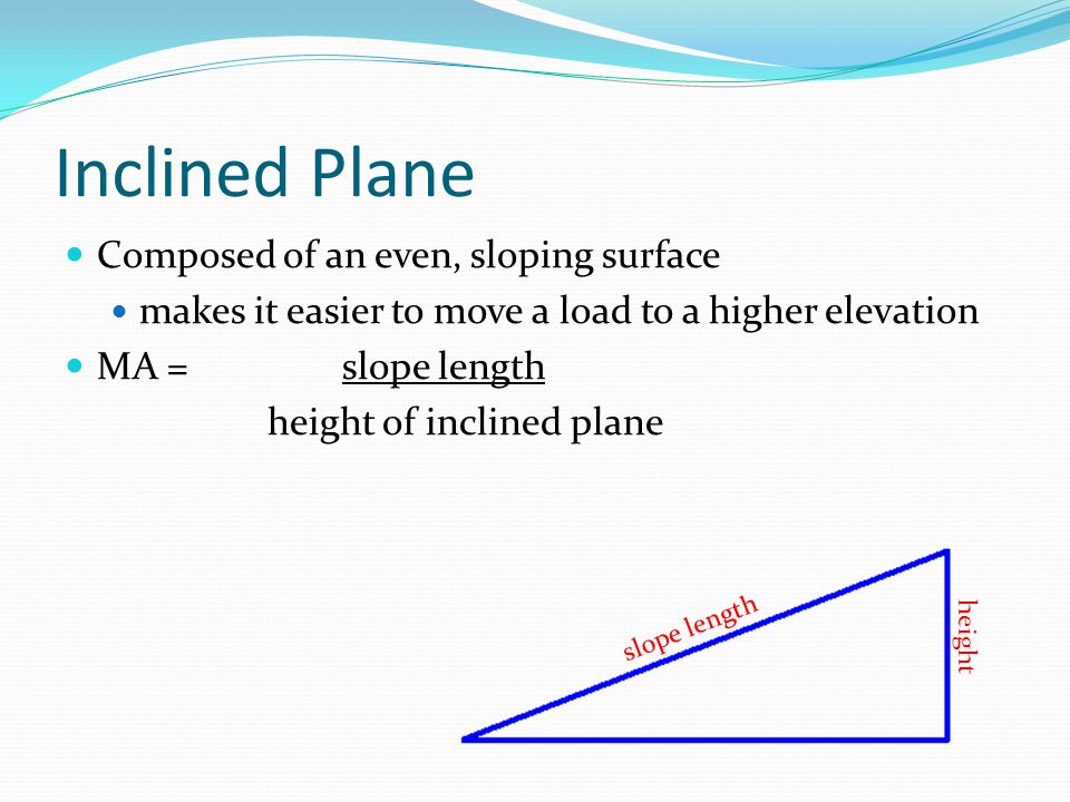 Inclined Plane Composed of an even, sloping surface