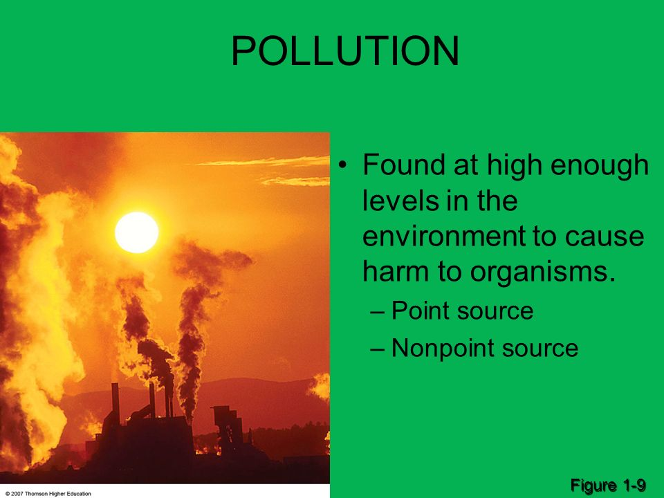 POLLUTION Found at high enough levels in the environment to cause harm to organisms. Point source.