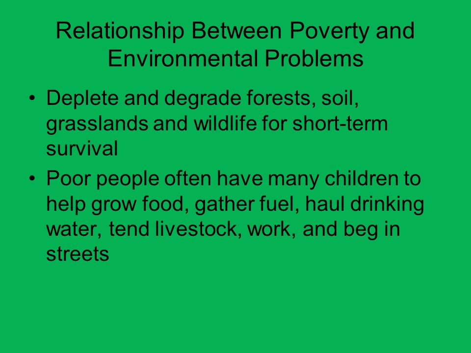 Relationship Between Poverty and Environmental Problems